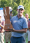 Andrew Putnam holds the championship trophy for winning the Barracuda Golf Championship at Montreux on Sunday, August 5, 2018.