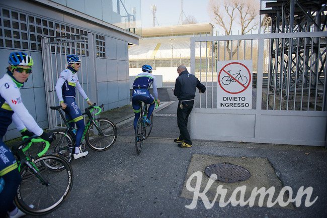 unexpected, but happy surprise as the Monza F1 Race Circuit 'landlord' happens to be an avid cycling fan and opens the track for a private session on the course<br /> (although the sign indicates otherwise...)<br /> <br /> training/coffee ride with Team Orica-GreenEDGE at  1 day before Milan-San Remo