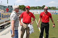 Cary, North Carolina  - Saturday April 29, 2017: Tom Sermanni, Joe Sahlen, and Aaron Lines during a pregame ceremony honoring the Western New York Flash for winning the 2016 NWSL championship prior to regular season National Women's Soccer League (NWSL) match between the North Carolina Courage and the Orlando Pride at Sahlen's Stadium at WakeMed Soccer Park.