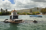 MAURITIUS, a small altar sits exposed in a bay in the town of Mahebourg