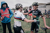 an emotional Sanne Cant (BEL/Iko-Beobank) running up to Loes Sels (BEL/Crelan-Charles) post-finish, apoligizing for finishing just ahead of Sels and thus preventing her from reaching a WC podium... <br /> <br /> Women's Elite race<br /> <br /> UCI cyclocross World Cup Koksijde / Belgium 2017