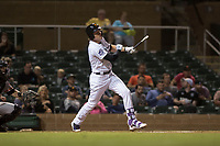 Salt River Rafters first baseman Tyler Nevin (2), of the Colorado Rockies organization, breaks his bat in front of catcher Matt Winn (16) during an Arizona Fall League game against the Scottsdale Scorpions at Salt River Fields at Talking Stick on October 11, 2018 in Scottsdale, Arizona. Salt River defeated Scottsdale 7-6. (Zachary Lucy/Four Seam Images)