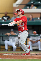 Palm Beach Cardinals catcher Carson Kelly (19) hits a home run during a game against the Lakeland Flying Tigers on April 13, 2015 at Joker Marchant Stadium in Lakeland, Florida.  Palm Beach defeated Lakeland 4-0.  (Mike Janes/Four Seam Images)