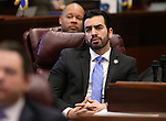Nevada Sen. Ruben Kihuen, D-Las Vegas, listens to discussion on the Senate floor at the Legislative Building in Carson City, Nev., on Monday, Feb. 16, 2015. <br /> Photo by Cathleen Allison