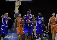 LJ Peak (Saints) reacts to being called for a foul during the national basketball league final  between Wellington Saints and Southland Sharks at TSB Bank Arena in Wellington, New Zealand on Sunday, 5 August 2018. Photo: Dave Lintott / lintottphoto.co.nz