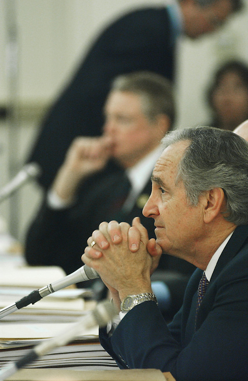 3/13/02.FARM BILL CONFERENCE--Senate Agriculture Chairman Tom Harkin, D-Iowa, middle, listens to opening statements at the beginning of the joint conference on the farm bill..CONGRESSIONAL QUARTERLY PHOTO BY SCOTT J. FERRELL