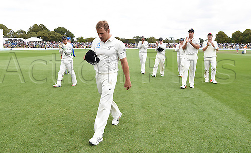 22.02.2016. Christchurch, New Zealand.  Neil Wagner leads team mates off the field after taking 6 wickets on Day 3 of the 2nd test match. New Zealand Black Caps versus Australia. Hagley Oval in Christchurch, New Zealand. Monday 22 February 2016.