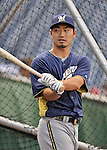21 September 2012: Milwaukee Brewers outfielder Norichika Aoki awaits his turn in the batting cage prior to a game against the Washington Nationals at Nationals Park in Washington, DC. The Brewers rallied in the 9th inning to defeat the Nationals 4-2 in the first game of their 4-game series. Mandatory Credit: Ed Wolfstein Photo