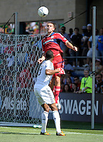 Chicago defender Austin Berry (22) elevates over LA Galaxy defender David Junior Lopes (3) for the header.  The LA Galaxy defeated the Chicago Fire 2-0 at Toyota Park in Bridgeview, IL on July 8, 2012.