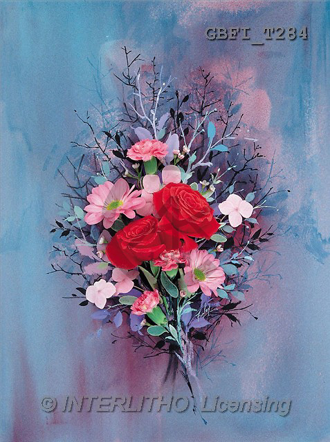 Finlay, FLOWERS, paintings, red roses, pink flowers(GBFIT284,#F#)