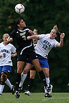 30 August 2009: Central Florida's Yvonne George (3) and Duke's Kendall Bradley (12). The Duke University Blue Devils lost 3-2 to the University of Central Florida Knights at Fetzer Field in Chapel Hill, North Carolina in an NCAA Division I Women's college soccer game.