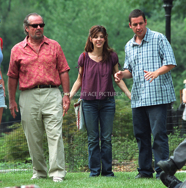 """Jack Nicholson, Marisa Tomei and Adam Sandler on the set of """"Anger Management"""" in Central Park, New York, July 1, 2002. Please byline: Alecsey Boldeskul/NY Photo Press.   ..*PAY-PER-USE*      ....NY Photo Press:  ..phone (646) 267-6913;   ..e-mail: info@nyphotopress.com"""