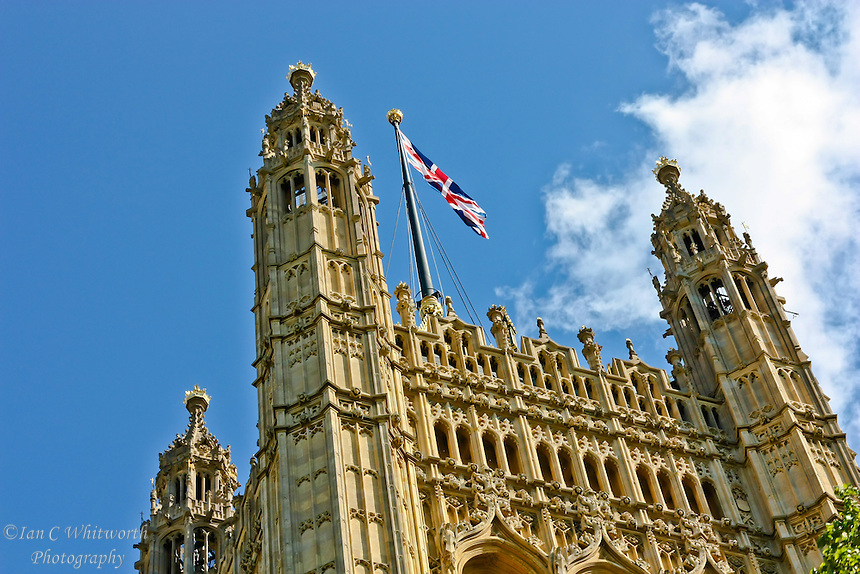 View of the tower flag on the Houses of Parliament in London
