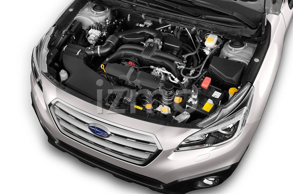 Car stock 2017 Subaru Outback Premium 5 Door Wagon engine high angle detail view