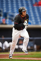 Quad Cities River Bandits third baseman Nick Tanielu (30) runs to first during the first game of a doubleheader against the Wisconsin Timber Rattlers on August 19, 2015 at Modern Woodmen Park in Davenport, Iowa.  Quad Cities defeated Wisconsin 3-2.  (Mike Janes/Four Seam Images)