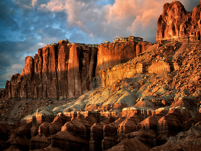 Mountain at sunset. Capitol Reef National Park, Utah