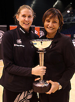 23.09.2012 Silver Ferns Casey Williams and coach Waimarama Taumaunu celebrate after the third netball test match between the Silver Ferns and the Australian Diamonds at CBS Canterbury Arena in Christchurch. Mandatory Photo Credit ©Michael Bradley.