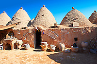 "Pictures of the beehive adobe buildings of Harran, south west Anatolia, Turkey.  Harran was a major ancient city in Upper Mesopotamia whose site is near the modern village of Altınbaşak, Turkey, 24 miles (44 kilometers) southeast of Şanlıurfa. The location is in a district of Şanlıurfa Province that is also named ""Harran"". Harran is famous for its traditional 'beehive' adobe houses, constructed entirely without wood. The design of these makes them cool inside. 18"
