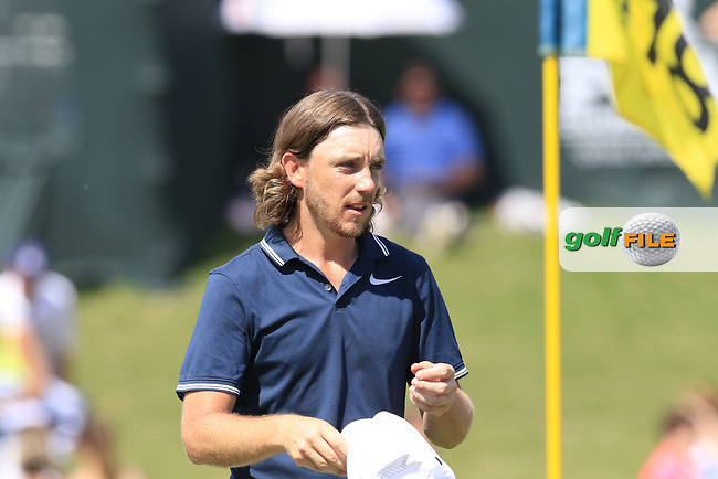 Tommy Fleetwood (ENG) finishes on the 18th green during Saturday's Round 3 of the 2017 PGA Championship held at Quail Hollow Golf Club, Charlotte, North Carolina, USA. 12th August 2017.<br /> Picture: Eoin Clarke | Golffile<br /> <br /> <br /> All photos usage must carry mandatory copyright credit (&copy; Golffile | Eoin Clarke)