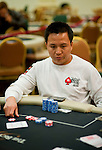 Team Pokerstars Pro Anh Van Nguyen doubles up with a set of threes.