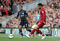 Liverpool's Joe Gomez and Manchester City's Raheem Sterling<br /> <br /> Photographer Rich Linley/CameraSport<br /> <br /> The Premier League - Liverpool v Manchester City - Sunday 7th October 2018 - Anfield - Liverpool<br /> <br /> World Copyright &copy; 2018 CameraSport. All rights reserved. 43 Linden Ave. Countesthorpe. Leicester. England. LE8 5PG - Tel: +44 (0) 116 277 4147 - admin@camerasport.com - www.camerasport.com