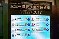 SHA TIN,HONG KONG-MAY 04: The result of Barrier Draw for Champions Mile at Sha Tin Racecourse on May 4,2017 in Sha Tin,New Territories,Hong Kong (Photo by Kaz Ishida/Eclipse Sportswire/Getty Images)