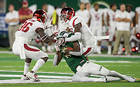 NWA Democrat-Gazette/BEN GOFF @NWABENGOFF<br /> Santos Ramirez, Arkansas free safety, tackles Preston Williams, Colorado State wide receiver, in the 4th quarter Saturday, Sept. 8, 2018, at Canvas Stadium in Fort Collins, Colo.
