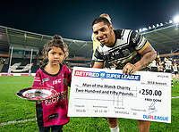 Picture by Allan McKenzie/SWpix.com - 19/04/2018 - Rugby League - Betfred Super League - Hull FC v Leeds Rhinos - KC Stadium, Kingston upon Hull, England - Albert Kelly is awarded the Betfred man of the match award