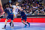 Niclas PIECZKOWSKI (#14 SC DHfK Leipzig) \Robin HALLER (#2 SG Bietigheim) \Patrick RENTSCHLER (#4 SG Bietigheim) \ beim Spiel in der Handball Bundesliga, SG BBM Bietigheim - SC DHfK Leipzig.<br /> <br /> Foto &copy; PIX-Sportfotos *** Foto ist honorarpflichtig! *** Auf Anfrage in hoeherer Qualitaet/Aufloesung. Belegexemplar erbeten. Veroeffentlichung ausschliesslich fuer journalistisch-publizistische Zwecke. For editorial use only.