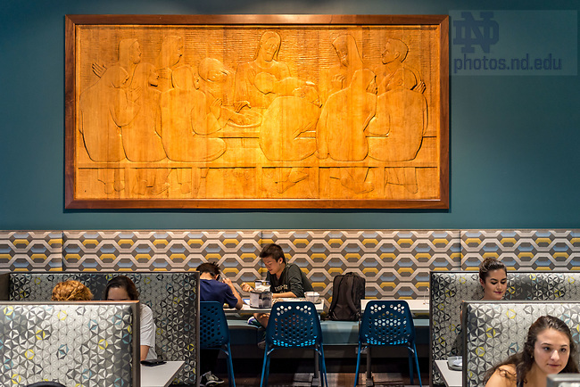 September 21, 2017; North Dining Hall side dining room with wood relief of Last Supper (Photo by Matt Cashore/University of Notre Dame)