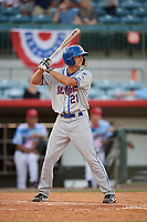 St. Lucie Mets center fielder Jacob Zanon (21) at bat during a game against the Florida Fire Frogs on April 19, 2018 at Osceola County Stadium in Kissimmee, Florida.  St. Lucie defeated Florida 3-2.  (Mike Janes/Four Seam Images)