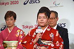 (L-R) Kasumi Ishikawa, Haruka Kitaura, <br /> APRIL 6, 2015 : <br /> Asics has Press conference in Tokyo. <br /> Asics announced that it has entered into a partnership agreement with the Tokyo Organising Committee of the Olympic and Paralympic Games. With this agreement, Asics becomes the gold partner. <br /> (Photo by AFLO SPORT)