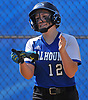 Heather Berberich #12, Calhoun shortstop, reacts after crossing home plate in the bottom of the fourth inning of a Nassau AA-I/AA-II crossover game against Baldwin at Calhoun High School on Saturday. April 14, 2018. Calhoun won by a score of 9-0.