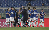 Calcio, Serie A: AS Roma - Sampdoria, Roma, stadio Olimpico, 28 gennaio 2018. i<br /> Sampdoria's Duv&agrave;n Zapata (c) celebrates after scoring with his teammates during the Italian Serie A football match between AS Roma and Sampdoria at Rome's Olympic stadium, January 28, 2018.<br /> UPDATE IMAGES PRESS/Isabella Bonotto