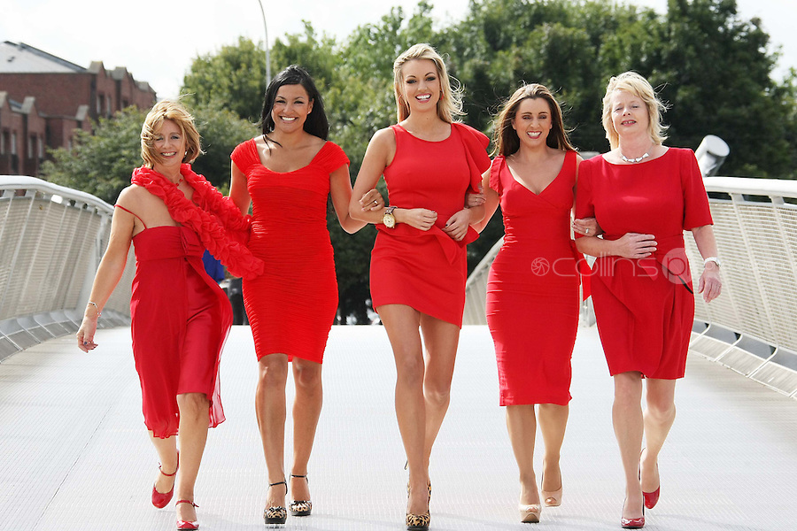 25/08/'10 Martina Stanley who plays Dolores in Fair City, TV3 presenter, Sinead Desmond, former Miss World, Rosanna Davison,  Nessa Childers MEP and singer, Hazel Kaneswarren pictured at CHQ this morning at a photocall ' This is not a Red Dress, It's a Red Alert' by the Irish Heart Foundation to publicise the fact that heart disease is not just a man's disease, it's the No.1 killer of Irish women. The national charity fighting herat disease and stroke urges all women to take action now to reduce their risk and know the symptoms of heart attack and stroke...Picture Colin Keegan, Collins, Dublin.