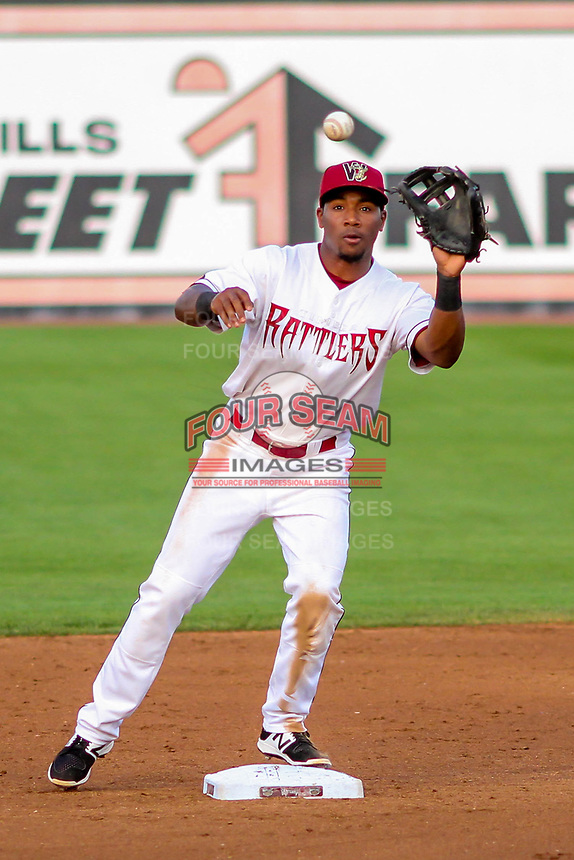 Wisconsin Timber Rattlers second baseman Darren Seferina (9) takes a throw to start a double play during a Midwest League game against the Burlington Bees on August 3, 2018 at Fox Cities Stadium in Appleton, Wisconsin. Wisconsin defeated Burlington 5-4. (Brad Krause/Four Seam Images)