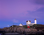 Cape Neddick - Nubble - Light Station (1879) and rising full moon at dusk<br /> York County, ME