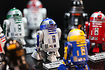 Industrial Automation R-Series Astromech Droids action figures on display at the 56th All Japan Model & Hobby Show in Tokyo Big Sight on September 25, 2016. The exhibition introduced hobby goods such as plastic models, action figures, drones, and airsoft guns. (Photo by Rodrigo Reyes Marin/AFLO)