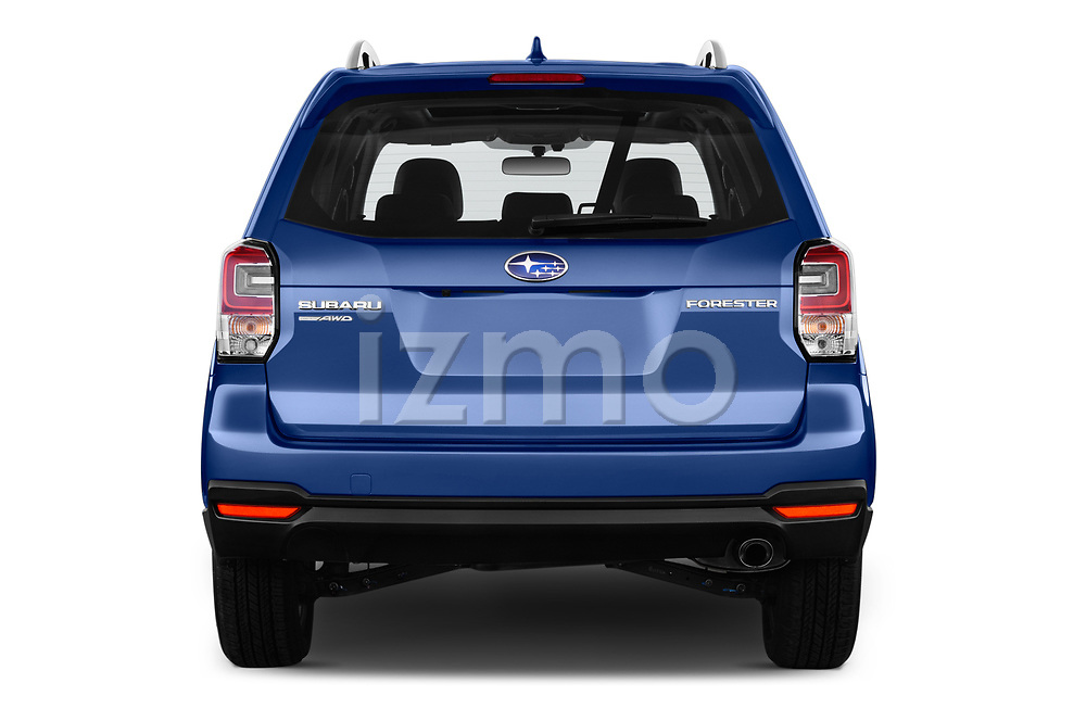 Straight rear view of a 2017 Subaru Forester Premium 5 Door SUV stock images