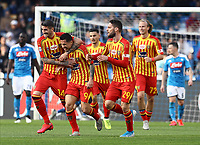 9th February 2020; Stadio San Paolo, Naples, Campania, Italy; Serie A Football, Napoli versus Lecce; Gianluca Lapaula of Lecce celebrates after scoring 29 minutes for 0-1