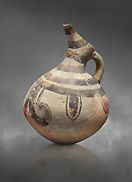 Cycladic beak spouted jug with 'melian' painted motifs.  Early Cycladic III (2300-2000 BC) , Phylakopi I, Melos. National Archaeological Museum Athens. Cat No 5725-6.  Gray background.
