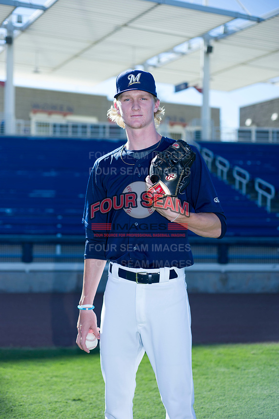 AZL Brewers pitcher Caden Lemons (18) poses for a photo prior to a game against the AZL Cubs at Maryvale Baseball Park in Phoenix, Arizona. AZL Cubs defeated the AZL Brewers 9-1. (Zachary Lucy/Four Seam Images)