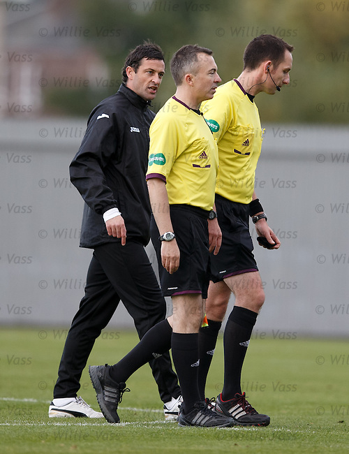 Jack Ross and referee Barry Cook at full time