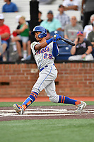 Kingsport Mets Sebastian Espino (29) swings at a pitch during a game against the Johnson City Cardinals at TVA Credit Union Ballpark on June 28, 2019 in Johnson City, Tennessee. The Cardinals defeated the Mets 7-4. (Tony Farlow/Four Seam Images)