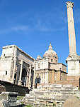 Column of Phocas and Arch of Septimius Severus in the Roman Forum in Rome, Itlay.