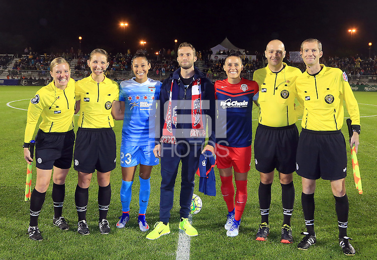 Boyds, MD - Friday Sept. 30, 2016: Adrienne McDonald, Danielle Chesky, Christen Press, Josh Brunais, Ali Krieger, Christopher Spivey, Cory Richardson prior to a National Women's Soccer League (NWSL) semi-finals match between the Washington Spirit and the Chicago Red Stars at Maureen Hendricks Field, Maryland SoccerPlex. The Washington Spirit won 2-1 in overtime.