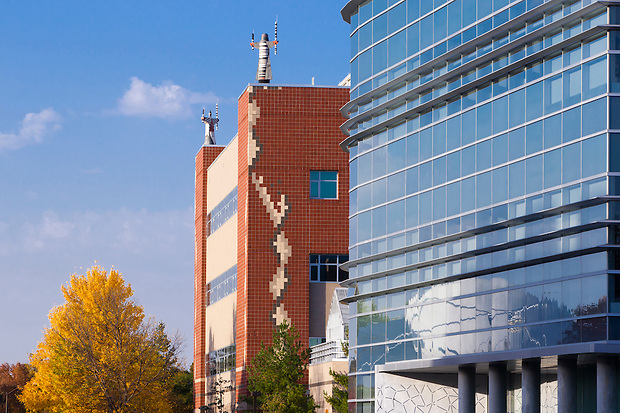 Hach Hall, right, and the Molecular Biology building on the campus of Iowa State University in Ames, Iowa. (Christopher Gannon/Gannon Visuals)