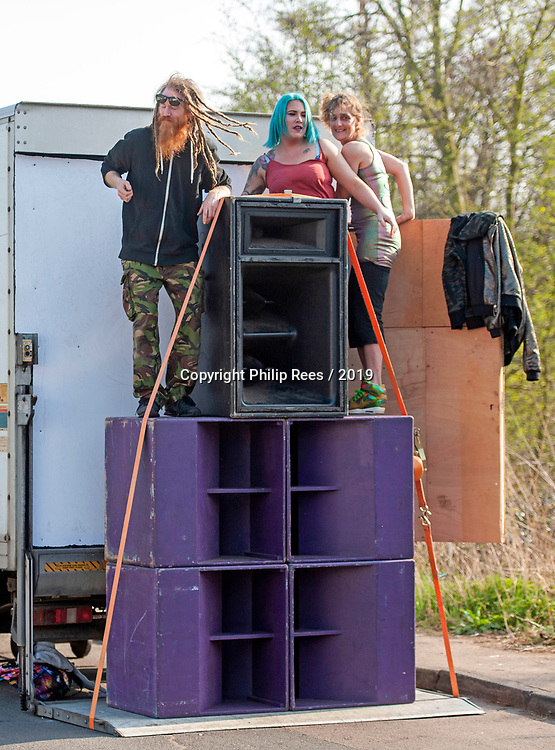 Prodigy fans crank up music by the band through huge speakers on the route of  the  funeral of Prodigy singer Keith Flint at St Marys Church in Bocking,  Essex today.