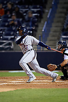 Lakeland Flying Tigers left fielder Quincy Latimore (22) follows through on a swing during a game against the Tampa Yankees on April 7, 2017 at George M. Steinbrenner Field in Tampa, Florida.  Lakeland defeated Tampa 5-0.  (Mike Janes/Four Seam Images)
