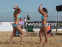 England celebrate there win during the Women's England v Holland Volleyball match at Sandbanks, Poole, England on 10 July 2015. Photo by Andy Rowland.
